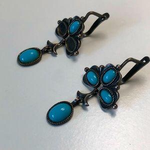 VINTAGE 80's| Genuine Turquoise Earrings